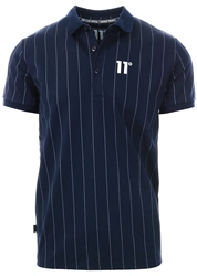11degrees Navy/White Stripe Polo Shirt