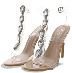 No Doubt Nude Patent Stiletto Jewel Perspex Heels