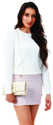 Parisian Grey/Pink Tweed Gold Button Detail High Waist Mini Skirt