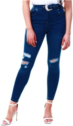 Parisian Dark Blue Indigo Western Buckle Belt Distressed Knee Skinny Jeans