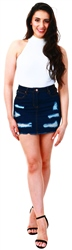 Parisian Dark Blue Indigo Distressed Denim Frayed Hem Mini Skirt