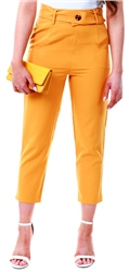Urban Bliss Mustard High Waist Button Trouser