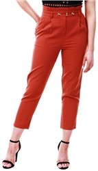 Urban Bliss Rust High Waist Button Tapered Trouser