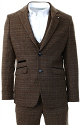 Cavani Brown Ascari 3 Piece Checked Suit