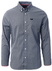Superdry Navy Gingham Button Down Long Sleeve Shirt