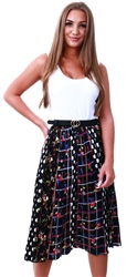 Brave Soul Black Pattern Midi Skirt