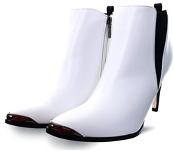 Una Healy White Pointed Slip On Ankle Boot