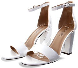 Krush White Block Heel Shoe