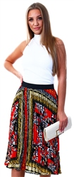 Missi Lond Red Pattern Pleated Skirt