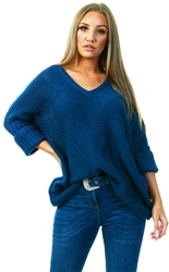 Noisy May Sea Blue Knitted V-Neck Pullover