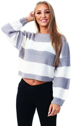 Brave Soul Crystal Grey/Ecru Knitted Sweater