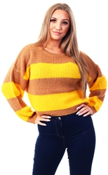 Brave Soul Spiced Camel / Sunshine Yellow Knitted Sweater