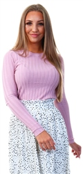 Qed Rose Rib Crew Neck Jumper