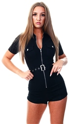 Parisian Black Zip Front Short Sleeve Stretch Denim Playsuit