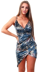 Parisian Blue Floral Strappy Bodycon Dress
