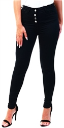 Parisian Black Button Up Detail High Waist Skinny Jeans