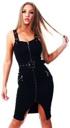 Parisian Black Zip Up Front Self Belt Denim Midi Dress