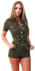 Parisian Khaki Denim Button Up Tie Waist Short Sleeve Playsuit