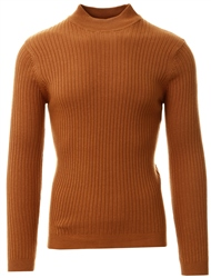 Brave Soul Camel Rib Knit High Neck Jumper