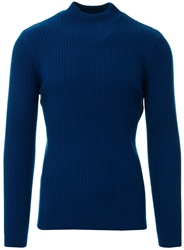 Brave Soul Navy Rib Knit High Neck Jumper