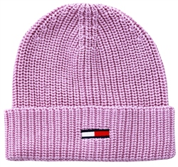 Tommy Jeans Lilac Flag Rib-Knit Beanie