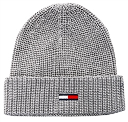 Hilfiger Denim Grey Flag Rib-Knit Beanie