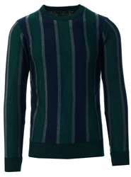 Brave Soul Bottle Green Stripe Knit Sweater