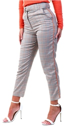 Missi Lond Grey/Orange Check Trousers