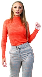 Noisy May Tangerine Tango Roll Neck Knitted Top