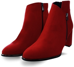 Marco Tozz Red Suede Ankle Boot