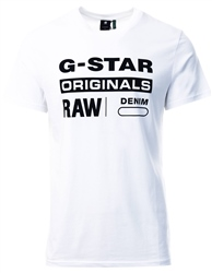 Gstar White Graphic 8 T-Shirt