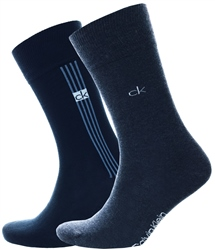 Calvin Klein Navy 96 Stripe Crew 2 Pack Socks