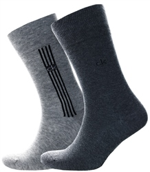 Calvin Klein Oxford Heather Stripe Crew 2 Pack Socks