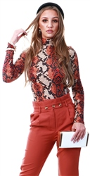 Ax Paris Rust Snake Print High Neck Bodysuit