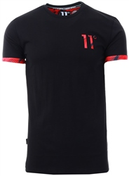 11degrees Black Logo Turn Up T-Shirt