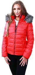 Hilfiger Denim Flame Scarlet Essential Hooded Down Jacket