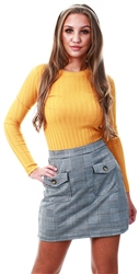 Brave Soul Yellow / Grey Check Mini Skirt