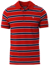 Guess Red/Navy/White Triangle Logo Front Polo