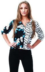 Influence Black Mixed Print Shirt