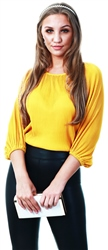 Mustard Pleat Long Sleeve Top by Missi London