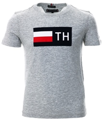 Hilfiger Denim Grey Heather Flock Logo Organic Cotton T-Shirt