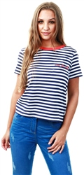 Brave Soul Navy / Red Stripe Slogan T-Shirt