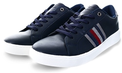 Dv8 Navy Textured Lace Up Trainer
