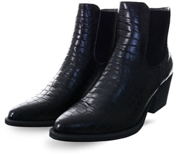 Krush Black Croc Print Boot