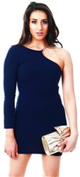 Ax Paris Navy One Shoulder Dress With Gold Detail