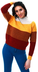 Only Pumice Stone / Golden Striped Knitted Pullover