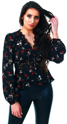 Miss Truth Black Floral Lace Top