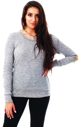Glamorous Grey Marl Elbow Patch Jumper