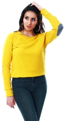 Glamorous Mustard Elbow Patch Jumper