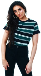 Brave Soul Green / Black / White Stripe Short Sleeve T-Shirt